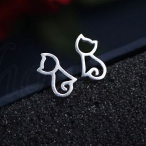 Regal🔥Stainless Steel Hollow Cat Stud Earrings